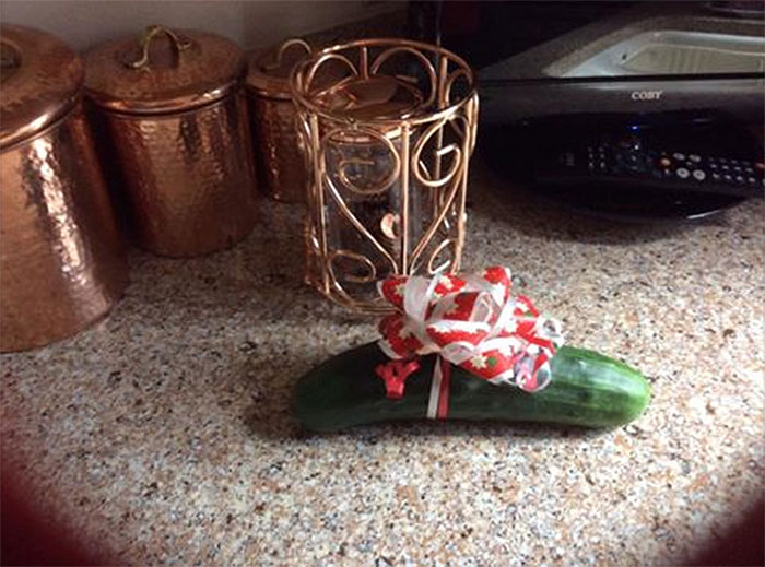 Gave My Aunt Cucumber Seeds For Christmas, Today My Grandma Wrapped The First One With A Bow Like A Gift