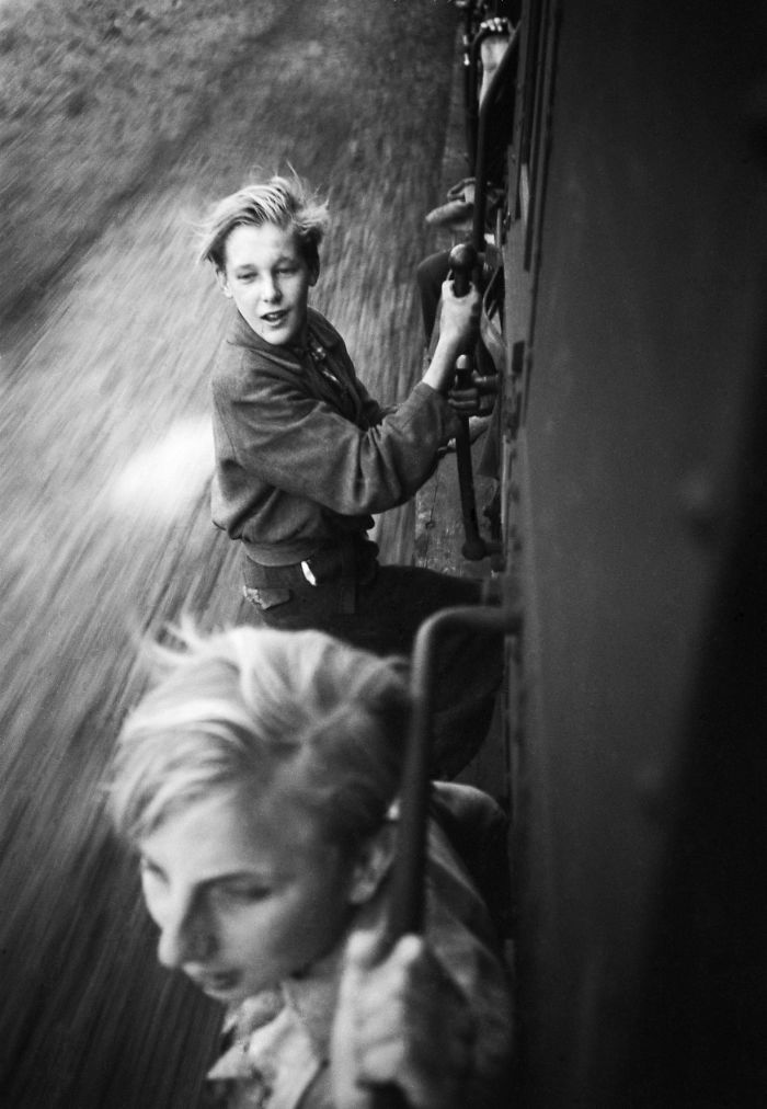 Boys Riding The Rails After The Liberation Of Holland, 1945