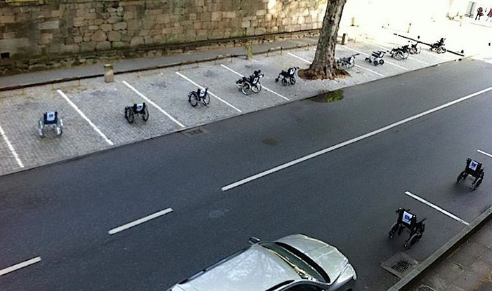 Wheelchairs Take Up All The Parking At A Park In Lisbon, Portugal, To Protest Improper Use Of Handi-accessible Parking