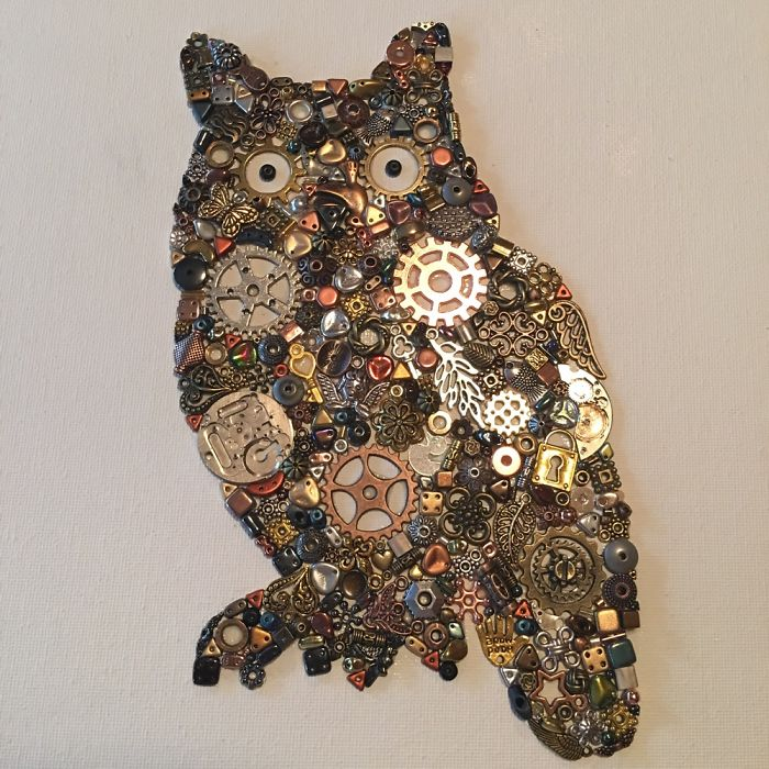 It Takes Me Up To 20 Hours To Create A Piece Of Art Using Metal Cogs, Beads, Watch Parts And Charms