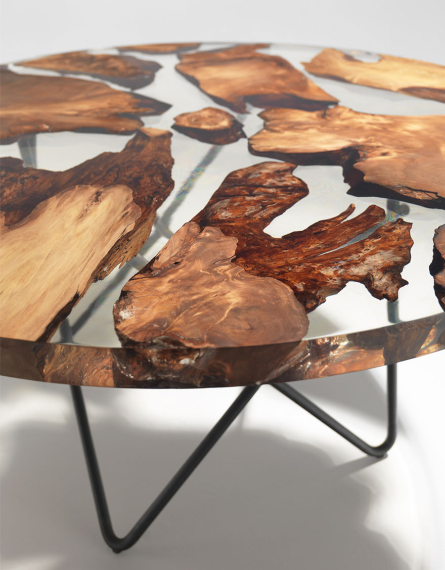 amazing resin table made from 50 000 year old wood bored. Black Bedroom Furniture Sets. Home Design Ideas