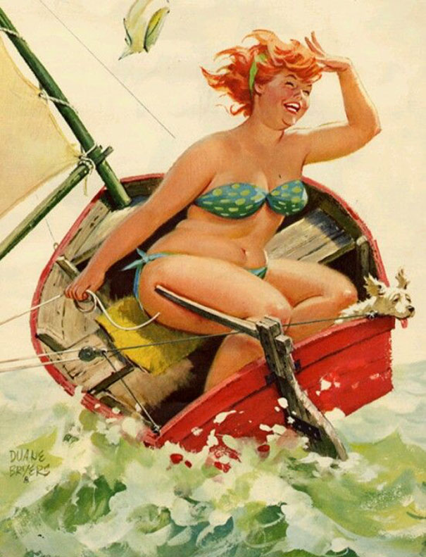 Hilda in Motor Boat with Dog