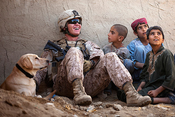 U.S. Marine Corps Lance Cpl. Isaiah Schult, An Improvised Explosive Device Dog Handler, Jokes With Afghan Children