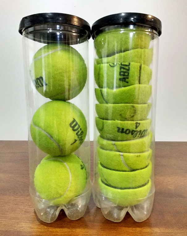 Cut Your Tennis Balls In Half To Store Two More Balls In Each Can, Saving Space
