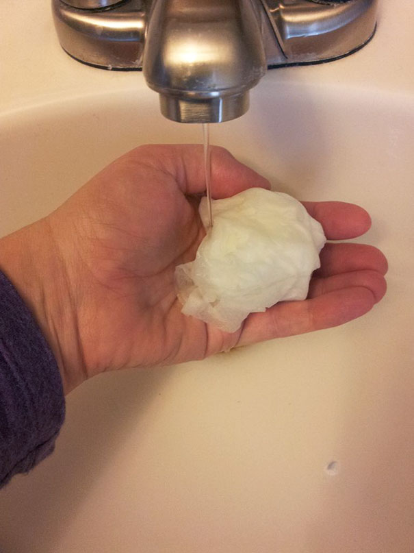 Make Homemade Wet Wipes By Soaking Toilet Paper Under Warm Water