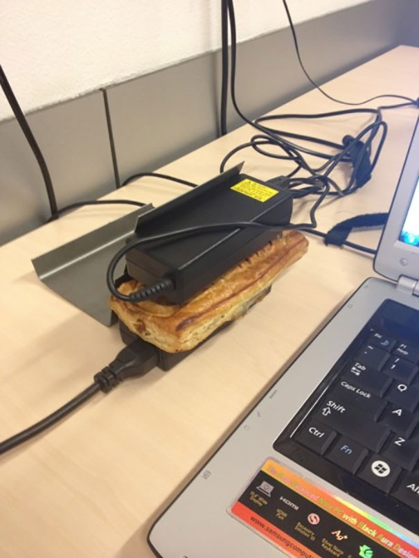 Use laptop chargers to heat up snacks