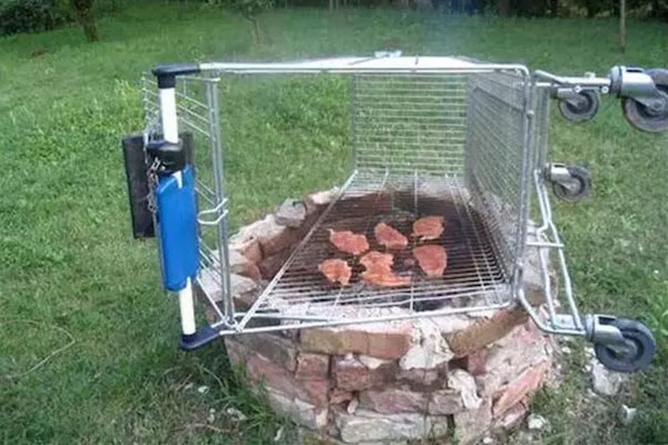 Use Shopping Cart As A Backyard Grill
