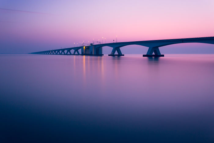 "The ""Zeeland"" Bridge During Sunset"