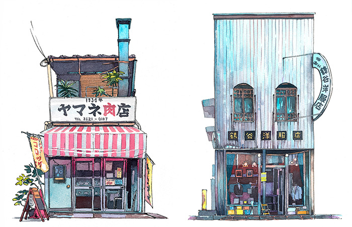 Tokyo Storefronts Captured In Watercolor By Polish Artist