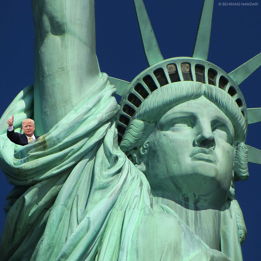 Tiny Trump In Statue Of Liberty