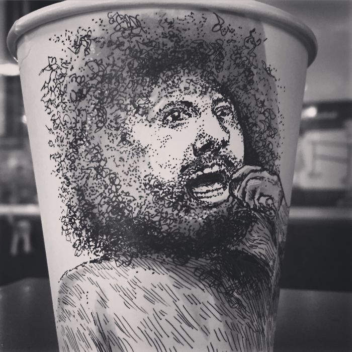 While Working As An Animator I Still Find The Time To Draw On Coffee Cups