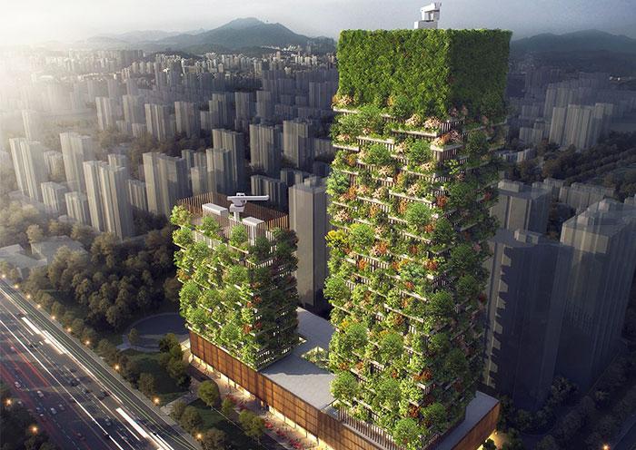 Los primeros bosques verticales de Asia tendrán más de 3000 plantas y convertirán el CO2 en 60 kilos de oxígeno al día