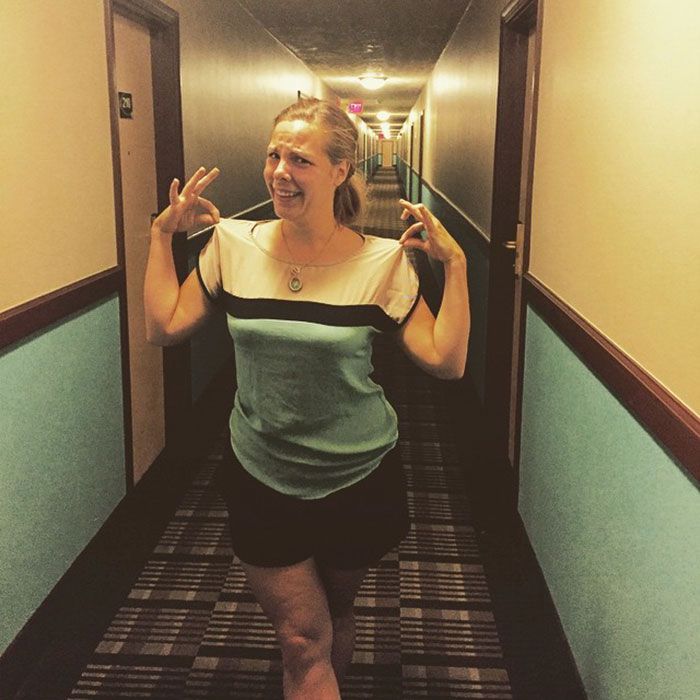 This Woman Or This Hotel's Corridor?