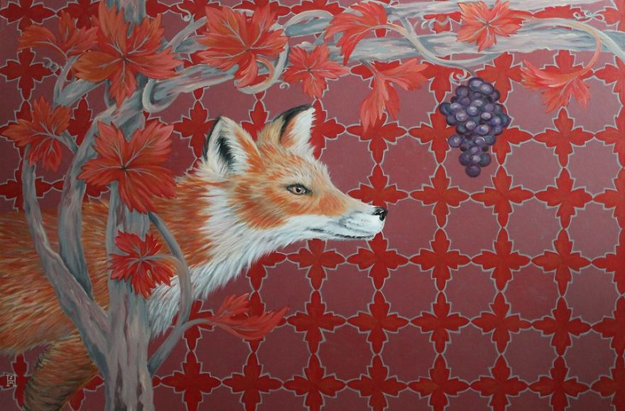 Sangria Fox- Original Acrylic Paint On Canvas