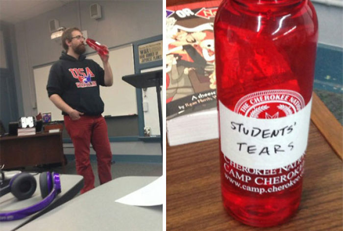 During Their Break, Students Discover What Their Teacher Is Drinking