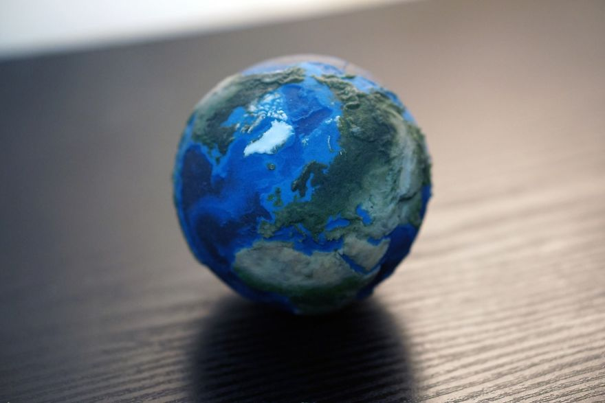 Earth Globe With Surface And Underwater Relief Detai