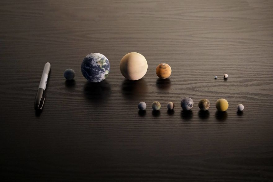 Earth, Venus, Mars, Mercury, 4 Large Moons Of Jupiter - Io, Europa, Ganymede, Callisto, The Earth's Moon, Titan, Triton, Pluto And Ceres
