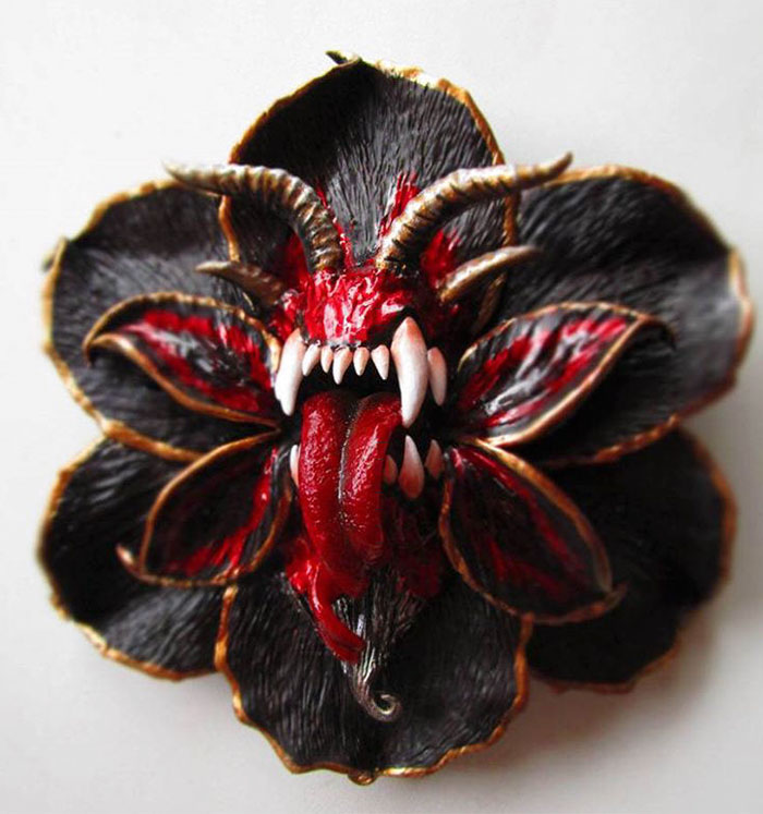I Make Delicate Carnivorous Flowers (carnifloras Or Fleeth) Using Polymer Clay And Natural Gems