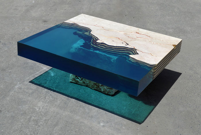 Aquatic Coffee Tables That I Make By Merging Natural Stone And Resin