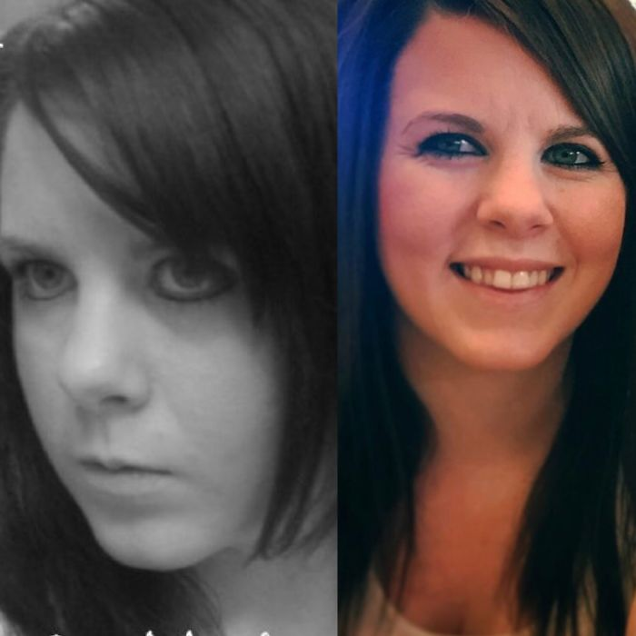 Left Side: 16 Year Old Self Thinking I Was Hardcore Emo. Right Side: 26 Year Old Self Happily Married And A Mom Two Beautiful Girls!