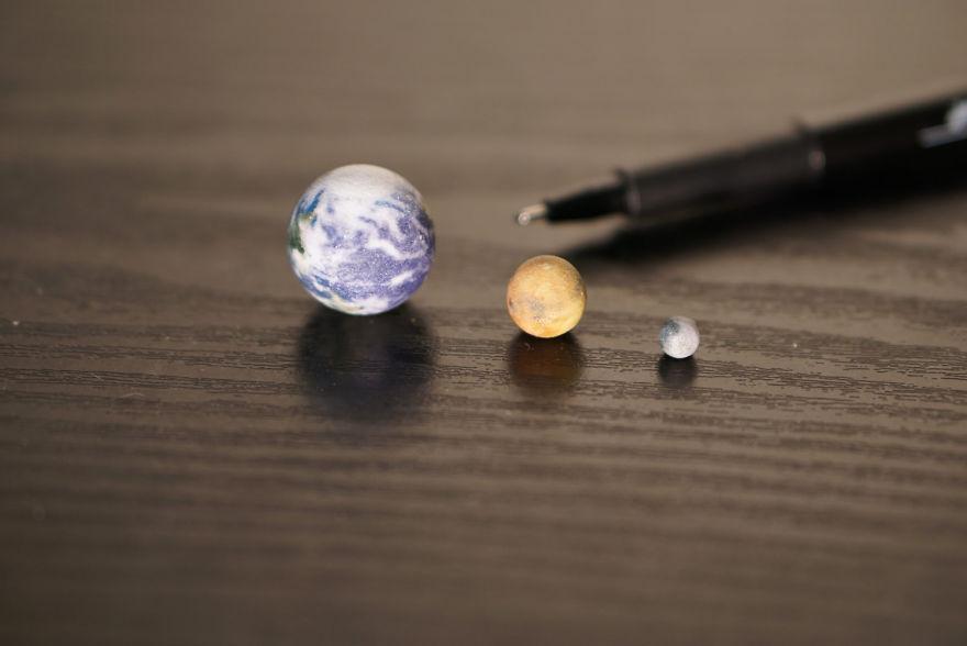 Tiny Earth, Mars And Moon
