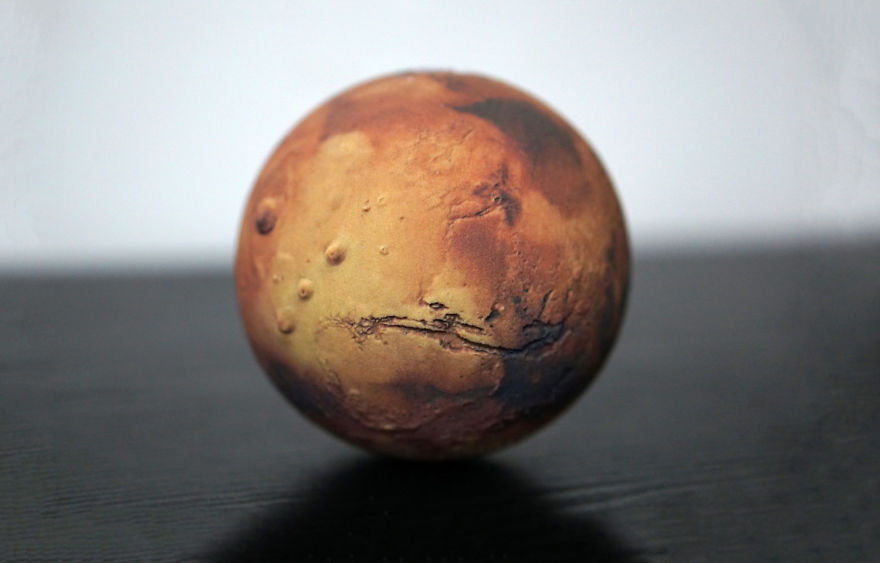 Mars Globe With 3d Surface Relief Detail