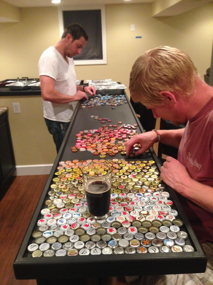 Man Collects Bottle Caps For 5 Years To Redo His Kitchen, And Here's The Result