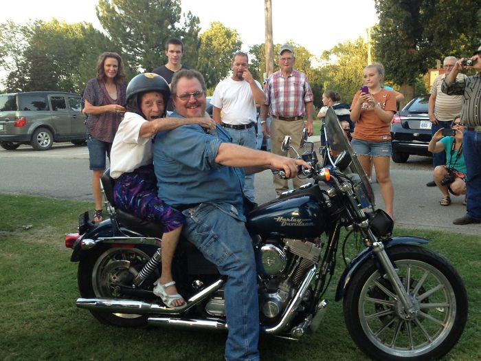 Many Years Ago My Great Grandmother Made A Promise That If She Made It To Her 100th Birthday She Would Ride Her First Motorcycle, That Day Has Come