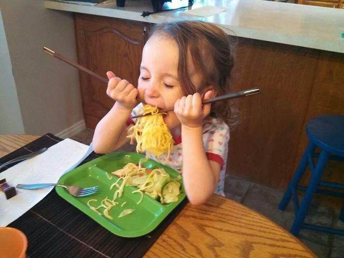 First Time Using Chopsticks