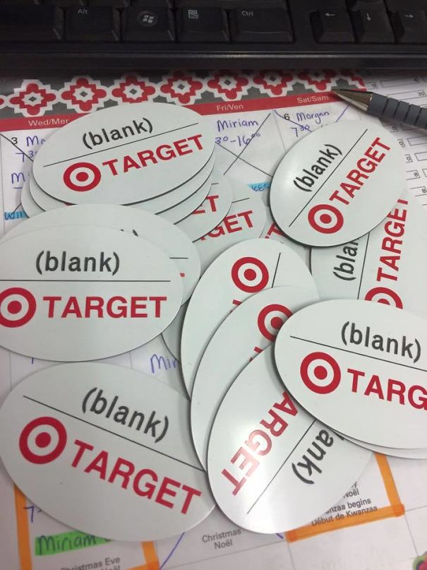 Target Ordered Blank Name Badges. So They Got Blank Name Badges