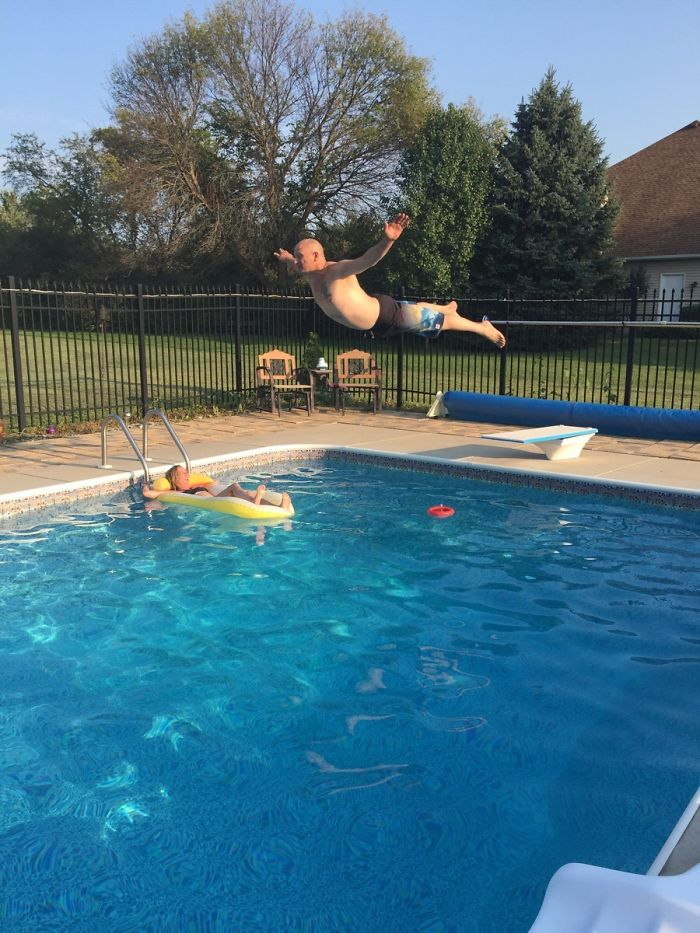 My Dad, The Belly Flop King, About To Ruin My Moms Afternoon