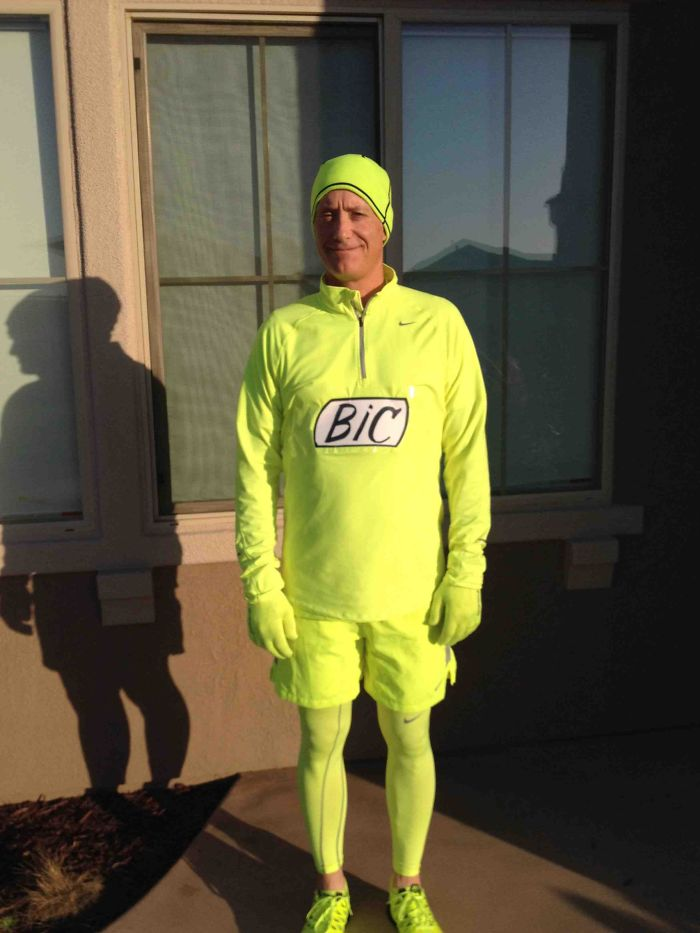 My Dad Loves Neon Yellow Running Gear. People Always Joke That He Looks Like A Highlighter. So He Became One