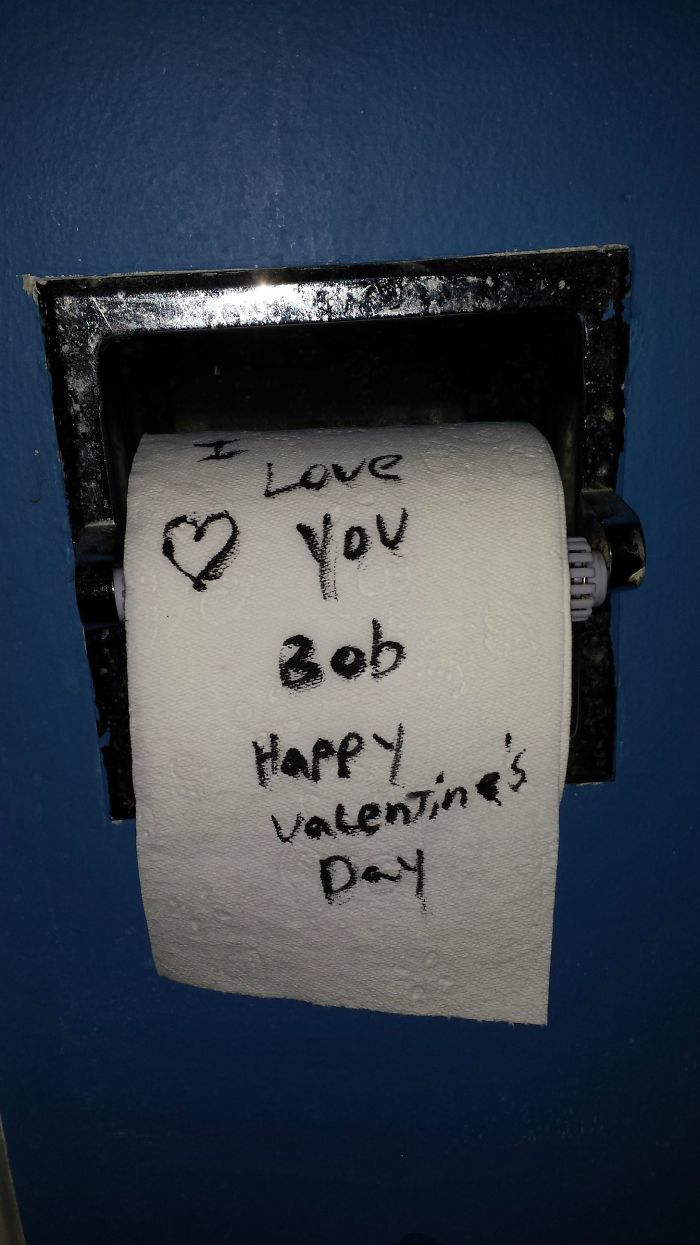 My Boyfriend Decided To Leave Me A Valentines Day Note In A Place He Was Sure I'd Find It