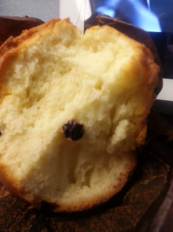 Ordered A Blueberry Muffin. Got 1 Blueberry. I Didnt Expect The Description To Be So Accurate