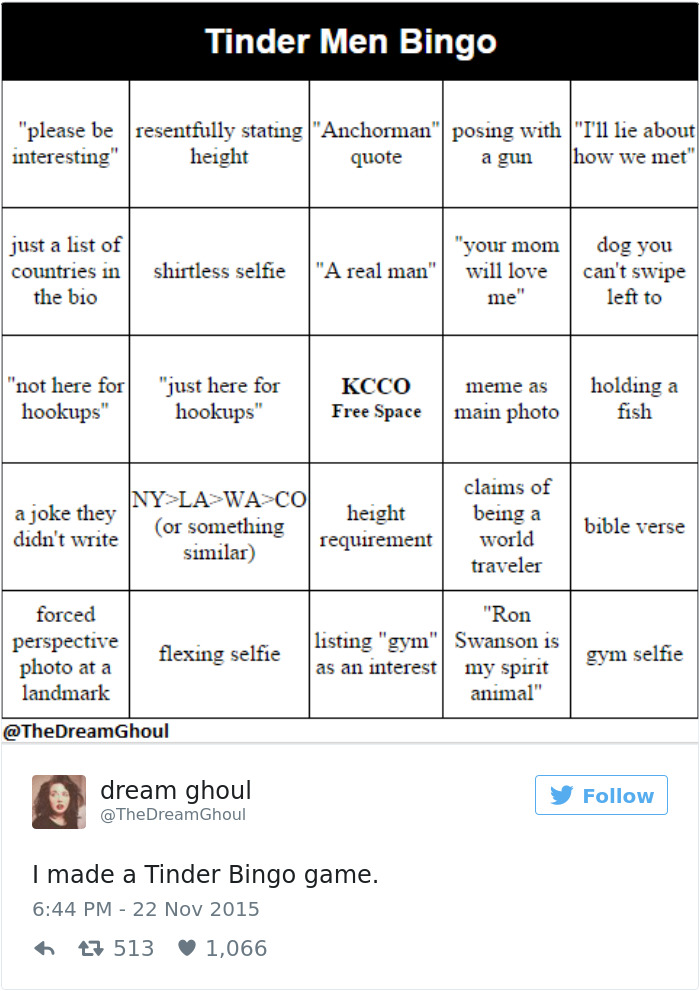 The Classic, Tinder Men Bingo