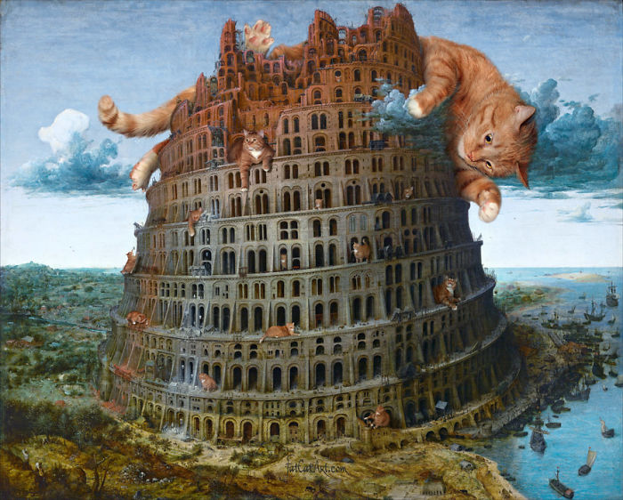 Pieter Bruegel The Elder, The Tower Of Babel, Fixed By Cats, Diptych, Part 1