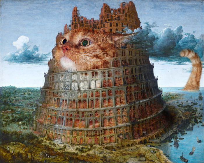 Pieter Bruegel The Elder, The Tower Of Babel, Fixed By Cats, Diptych, Part 2