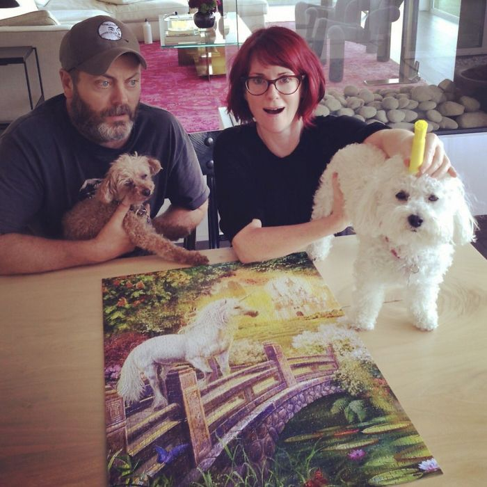 Nick-offerman-megan-mullally-puzzles