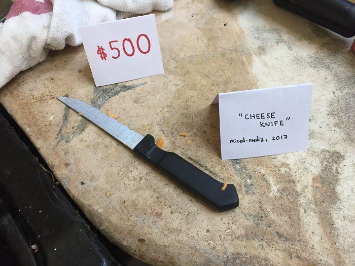Cuchillo tras cortar queso t cnica mixta 2017 bored panda - Cuchillo cortar queso ...