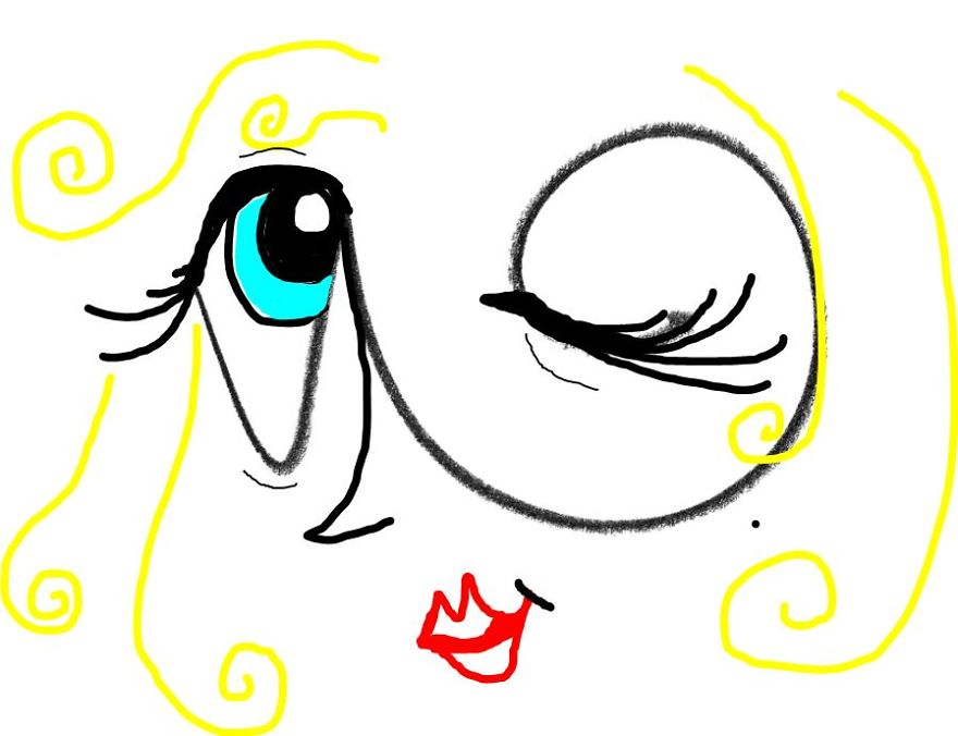 (drawn In The Snipping Tool) An Abstract Woman Winking ;)