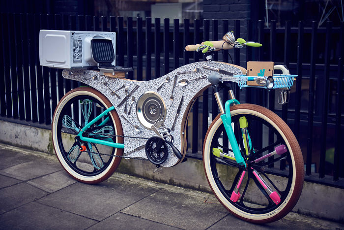74 Kitchen Utensils Were Used To Construct This Bike