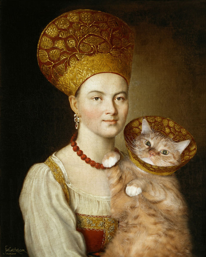 Ivan Argunov, Portrait Of An Unknown Woman In Russian Costume And A Well-known Cat In A Vet Collar