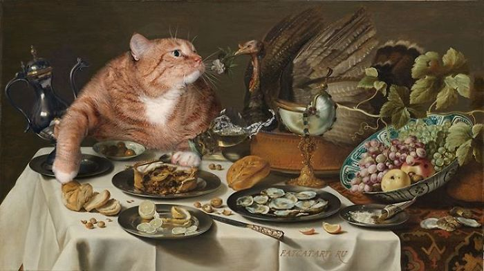 Pieter Claesz Heda, Still Life With A Turkey Pie And The Cat