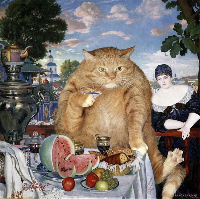 Boris Kustodiev, The Merchant's Wife At The Cat's Tea