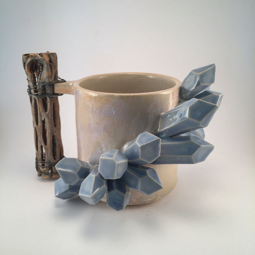 I Create Ceramic Pieces With Giant Sculpted Crystals Growing Out Of Them