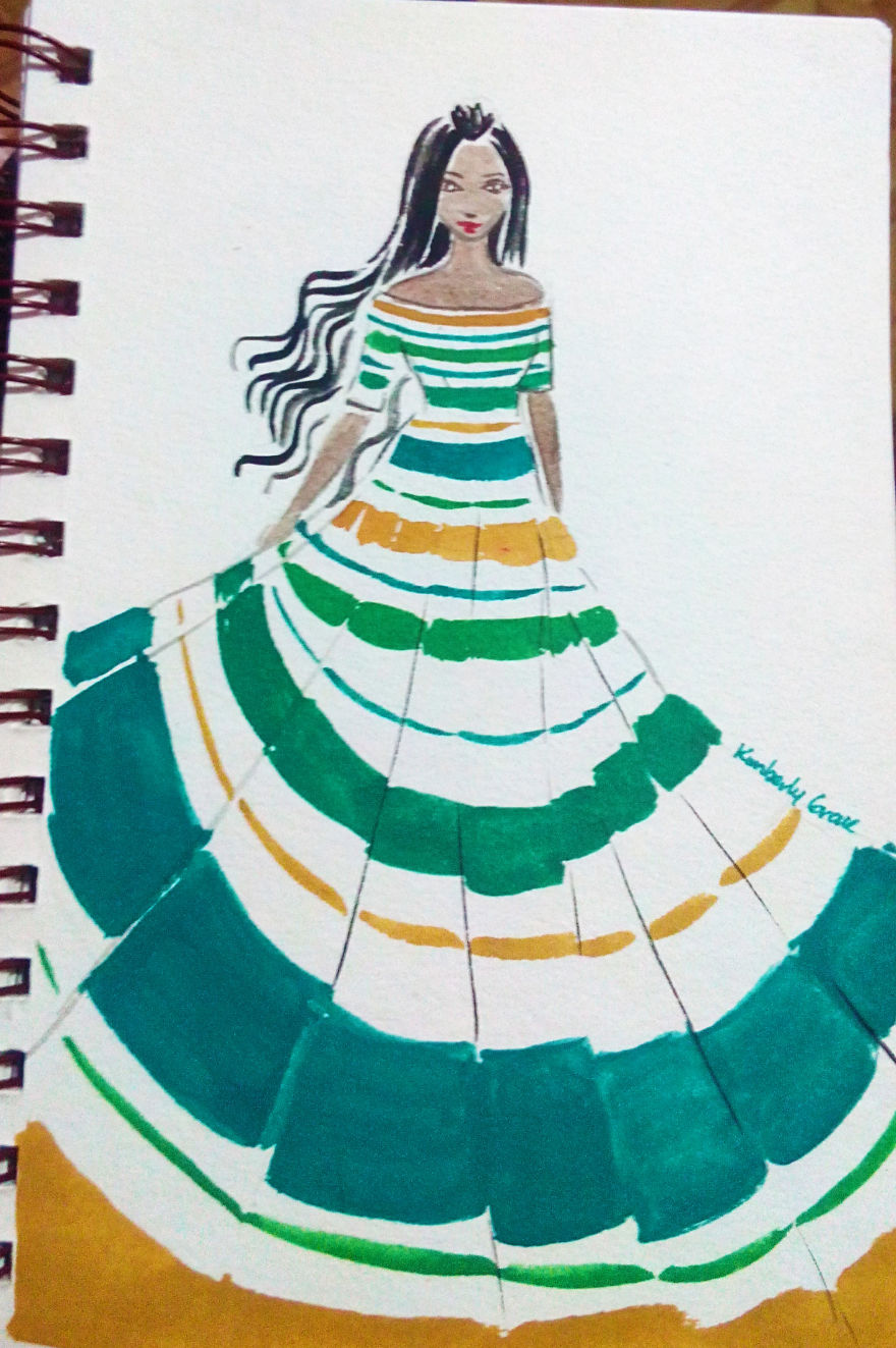No.18 – Horizontal Stripes In Teal, Gold, Greens