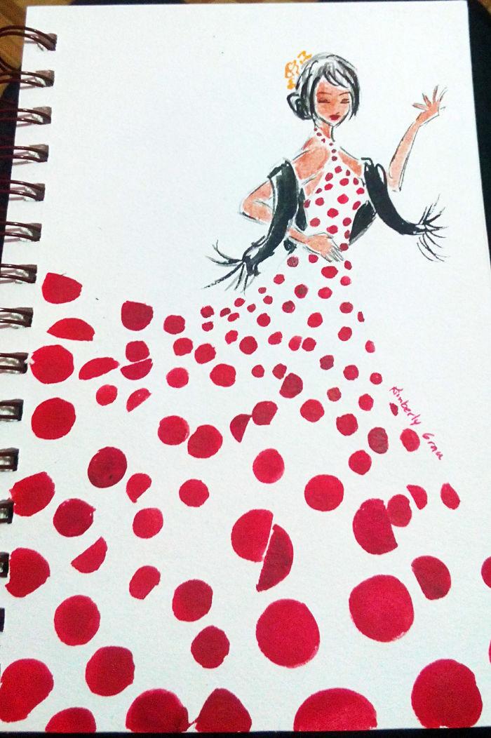 No. 8 Flamenco Red Polka Dots