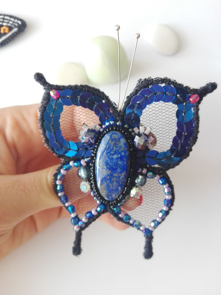 Fantasy Butterfly Brooch With Lapis Lazuli Healing Crystal
