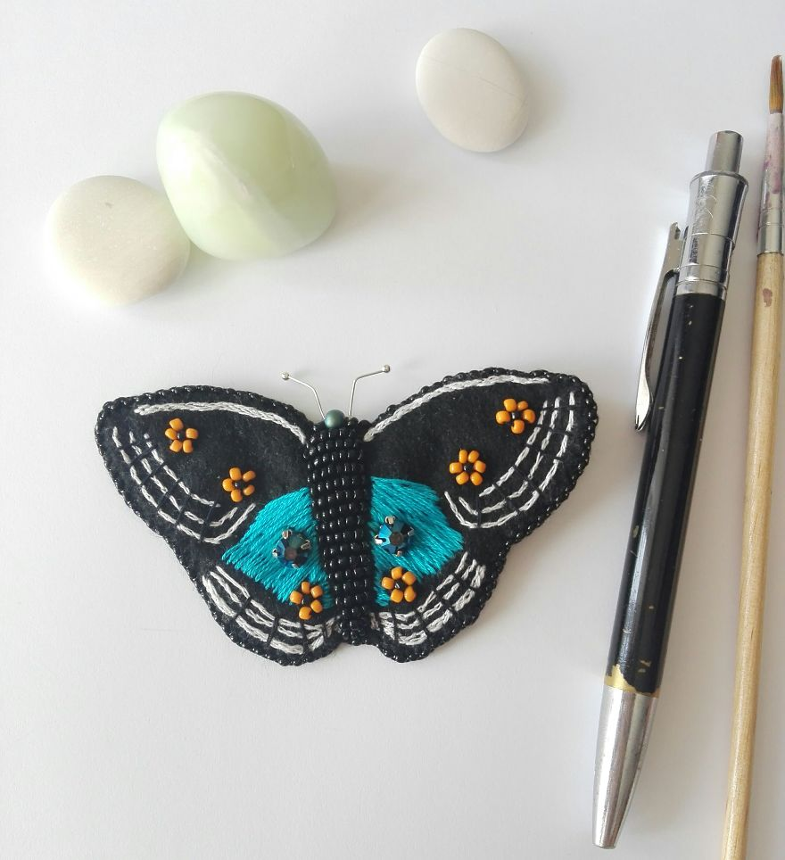 Blue Pansy Butterfly Brooch / Pendant