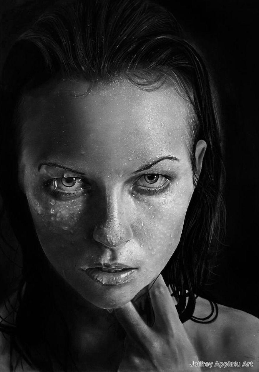 I Create Photo-Realistic Portraits Using Charcoal And ...